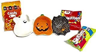 Halloween Attached Designer Ceramic Ghost, Pumpkin, Spider Bowls and 3 Bags Candies ( 1 Skittle Sours 1 Original and 1 Candy Corn. Great for Party or Gift Bundle ( 3 Items)