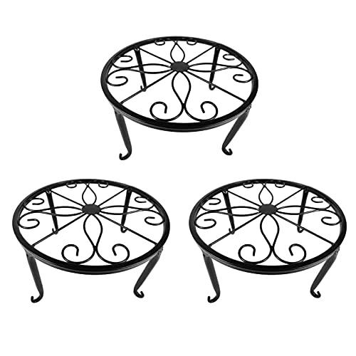 YIREAUD Metalen plantenstandaard, 3 in 1 potstrijkijzers plantenbak ondersteunt vloer bloempot ronde rek display met scrollpatroon perfect voor woonkamer, tuin, terras