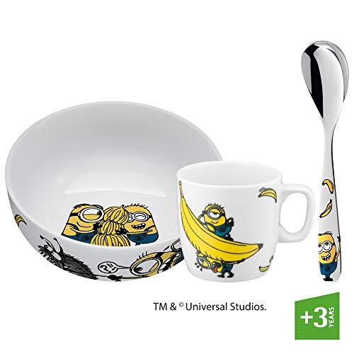 WMF Minions - Vajilla infantil de porcelana con cuchara, 3 piezas, a partir de 3 años, taza infantil, cuchara infantil, juego de desayuno, apto para lavavajillas, color y apto para alimentos