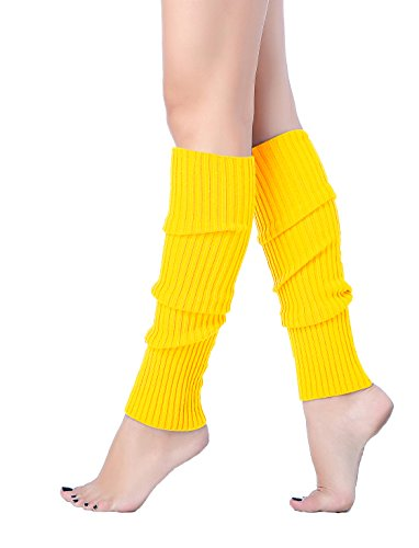 V28 Women Juniors 80s Eighty's Ribbed Leg Warmers for Party Sports (Yellow)