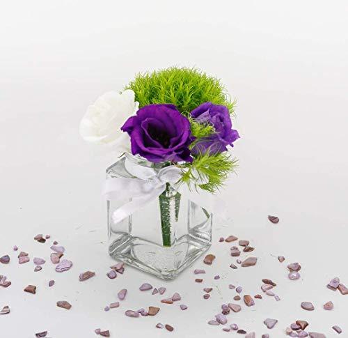 casavetro - Juego de 6 jarrones pequeños rectangulares de 285 ml, Cristal Transparente, jarrón de Flores para Bodas (6 Lazos de Color Blanco)