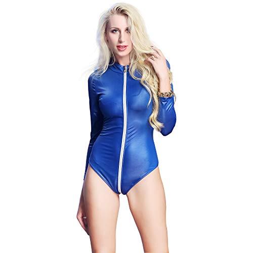 LXJ-KLD Combinaison en Cuir Verni sous-vêtement en Cuir Verni pour Adulte en Cuir pour Adulte,Blue,L