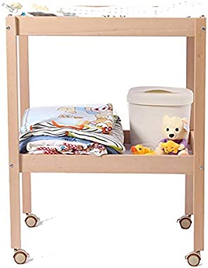 Wood Baby Changing Table, Dresser Unit Diaper Station, Children Newborn Nursery Organization On Wheels - 53x72x86cm