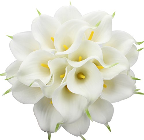 Duovlo 20pcs Calla Lily Bridal Wedding Bouquet Lataex Real Touch Artificial Flower Home Party Decor (White)