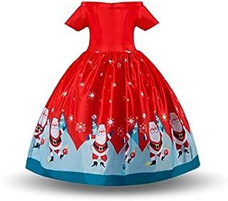 Sunny Fashion Girls Dress Christmas Eve Christmas Tree Snow Reindeer Party Christmas Dress Xmas Gifts Dresses 150cm