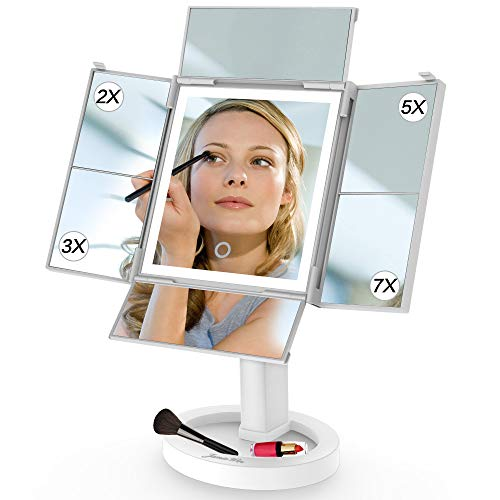 JAMIEWIN Lighted Vanity Makeup Mirror with 24 Led Lights and Quad-Folding 2X 3X 5X 7X Magnification 360 Rotation Best Gifts for Women Girl Lady