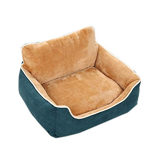 Deluxe zacht wasbaar hondenbed, ademende hondenbank met ritssluiting afneembaar huisdier bed hondenmand anti-slip bodem huisdier matras, XXL(97x78cm), Blauw
