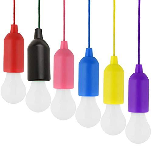 Ibesecc Lámpara LED portátil de 6 piezas para senderismo, pesca, escritorio, camping, tienda de campaña, lámpara de jardín, funciona con pilas