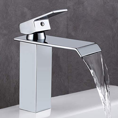 GAVAER Wasserfall Wasserhahn Bad, Elegant Moderner Stil Waschtischarmatur, Premium-Qualität Keramikventil, Verchromung Prozess, Massivem Messing.