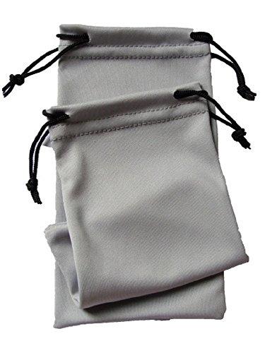 NEW 2 x GlassesSunglasses Silver Soft Drawstring Pouch Case Bag