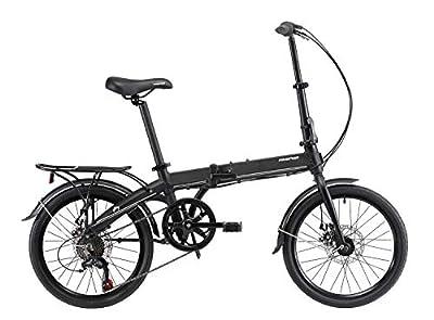 KESPOR K7 Folding Bike for Adults, Women, Men, Rear Carry Rack, Front and Rear Fenders, Shimano 7 Speed Aluminum Easy Folding City Bicycle 20-inch Wheels, Disc Brake (Black)