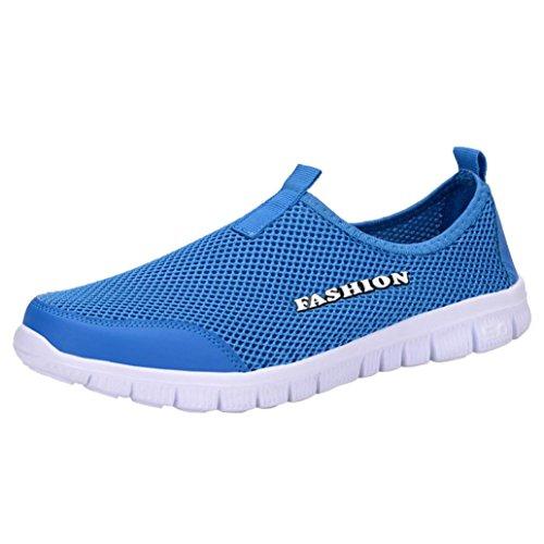 Zarupeng Herren Licht Turnschuhe Atmungsaktive Mesh Freizeitschuhe Walking Outdoor Sportschuhe Flachen rutschfest Sneaker Low-Cut (42 EU, Blau)