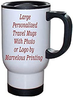 Personalized 14 oz White Stainless Steel Travel Mug with - Personalized Mug