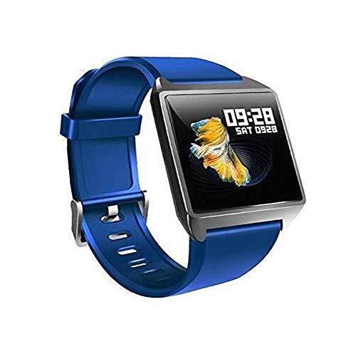 Meyeye Smart GPS-polshorloge, IP68, waterdicht, heren, hartslagfrequentie, bloeddruk, stappenteller, vrouwen, fitness, beweging smartwatch iOS, Android, smart armband (kleur: zwart), Blauw