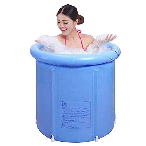 XinShengHe- Bañera de plástico portátil Grande, Ducha de bañera empapada Japonesa, Inflable, Flexible, tamaño Adulto, Azul Plegable - (con Tapa)