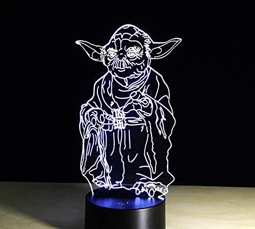 Star Wars mode créative veilleuse à LED, chambre à coucher de lampe de table 3D, nuit de sommeil jusqu'à télécommande de lumière