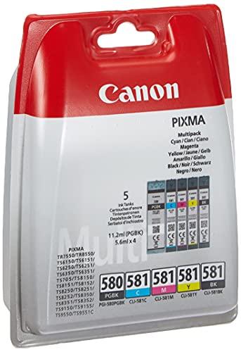 Canon PGI-580+CLI-581 Multipack tinta original Cian/Magenta/Amarillo/PGBK impresora inyeccion tinta TR7550-8550-TS705-6150/51-6250/51-6350/51-8150/51/52-8250/51/52-8350/51/52-9150/55-9550-9551C