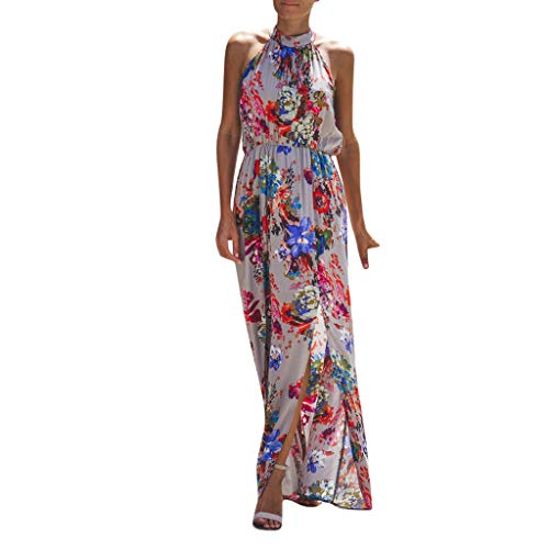 Cheap Women Cold Shoulder Sleeveless Dress Elegant Evening Cocktail Club Party Dress Boho Floral Pri...
