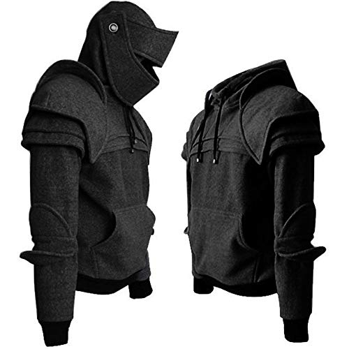SLTX Mens Solid Color Retro Elbow Drawstring Mask Knight Sweater-HS-M