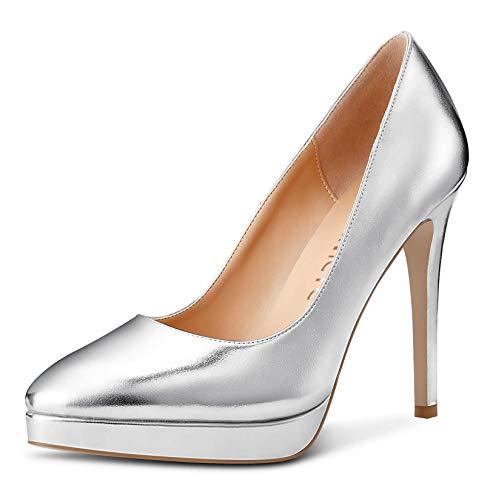 Castamere Scarpe col Tacco Plateau Donna Moda Tacco a Spillo 12CM High Heels Argento Pu Scarpe EU 35