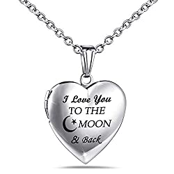 """❤MATERIAL❤ Love heart locket """"I Love You to the Moon and Back"""" engraved, made with Stainless Steel,antiallergic and no harm to health.Platinum Plated,keep the color not easy to fade. ❤FEATURE❤ Love heart locket necklace pendant with chain length: 50c..."""