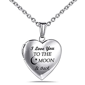 Love Heart Locket Necklace That Holds Pictures Engraved  Always in My Heart  Memories Photo Lockets  Moon & Back locket