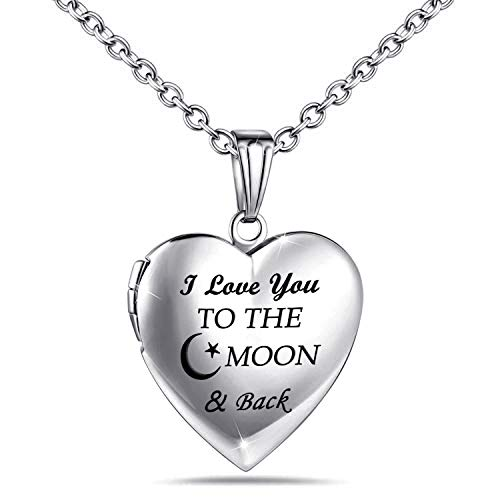 "Love Heart Locket Necklace That Holds Pictures Engraved""Always in My Heart"" Memories Photo Lockets (Moon & Back locket)"
