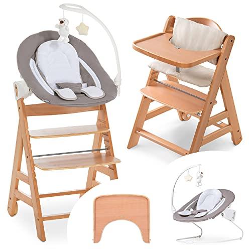 Hauck Alpha Move Newborn Set Deluxe - Trona evolutiva madera con Hamaca bebé recién nacido, móvil, cojín de asiento acolchado y bandeja para comer - Natur Sand