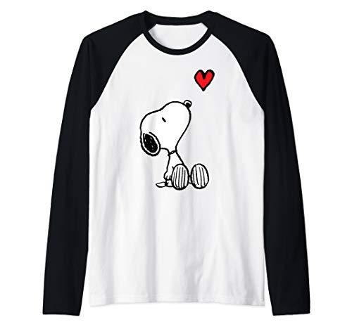 Peanuts Heart Sitting Snoopy Raglan Baseball Tee