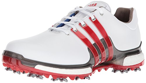 adidas Men's TOUR360 Boost 2.0 Golf Shoe, White/Scarlet/Dark Silver Metallic, 9.5 UK