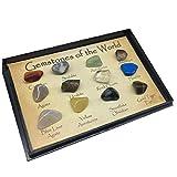 12pcs / Set de piedras preciosas del Mundo Minerales de muestras de roca natural pulido deslumbrantes piedras de regalo de la escuela geológica Educación Decoración para el Hogar Niños