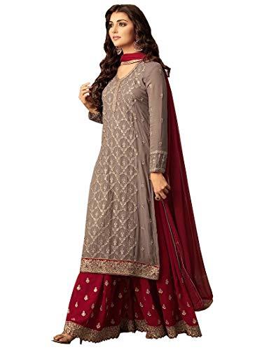 Ready Made Designer Indian/Pakistani Ethnic wear Georgette Plaazo Salwar kameez (Red, L-42)