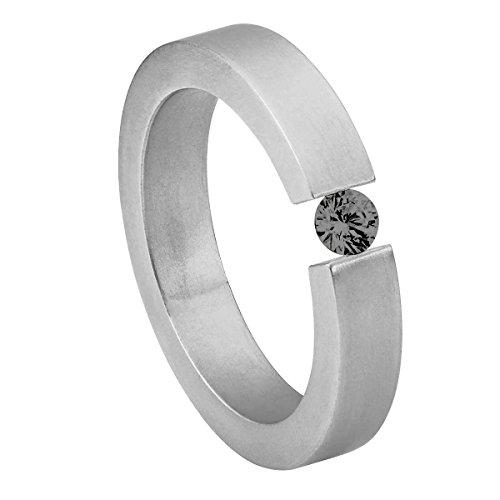 Heideman Ring Ladies Anillo de acero inoxidable Alterna para mujeres con Stone Zirconia blanco talla brillante 4mm