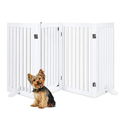 Best Choice Products 31.5in 4-Panel Freestanding Wooden Pet Gate w/Walk Through Door, Adjustable Pen, Support Feet - White