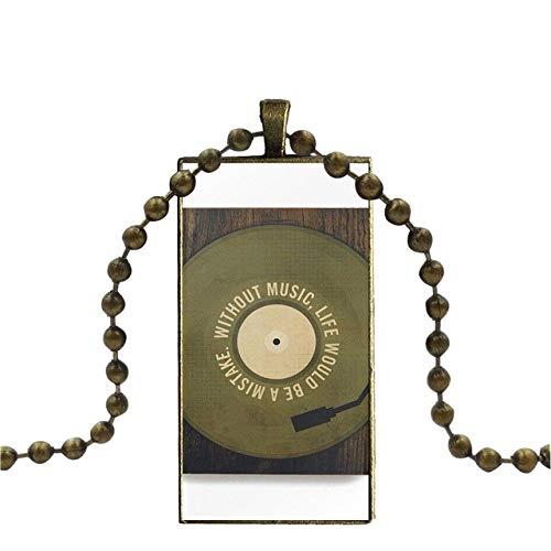 Für Unisex Geschenk Glas Cabochon Schmuck Bronze Farbe Mit Langem Anhänger Halsreif Rechteck Halskette Classic Technics Plattenspieler Dj