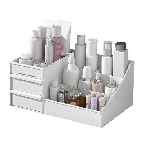 Rann.Bao Desktop Kosmetik aufbewahrungsbox Make-up Cosmetics Organizer veranstalter mit 2 schubladen und 5 Fächern, Kleiner Gegenstand aufbewahrungskiste für Schlafzimmer Badezimmer büro (weiß)