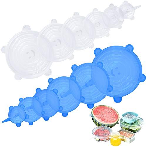 Hiveseen Couvercles extensibles en silicone, couvercles en silicone, réutilisables, flexibles, durables, sans BPA et extensibles pour s'adapter à diverses formes de récipients, paquet de 12