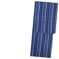 レディース 浴衣(Sサイズ/綿麻 阿波しじら風 ネイビー 紺 マルチカラー縞 15663)レトロ 浴衣 単品 プチサイズ 小さいサイズ ゆかた