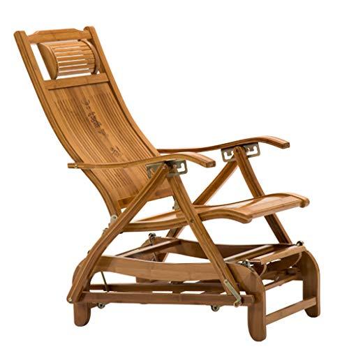 N / A Bamboo Rocking ChairSilla Plegable, Balancín Antiguo Portátil Ajustable con Respaldo de Bambú, Tumbona de Jardín/Balcón de Madera con Pedales Retráctiles