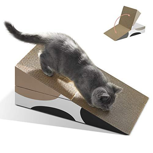 ComSaf Kratzbrett für Katzen, Dreieckiger Faltbarer Kratzmatte Katze, Katzen Spielzeug Kratzmöbel Wellpappe Kratzmatten, Recycelbar Kratzpad aus Qualitäts-Pappe, 46x44x16cm