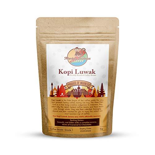 Shangri-La Coffee - Wilde Kopi Luwak Kaffeebohnen - 1 Kilogramm (Andere Gewichte Und Bohnentypen Erhältlich) - Ethisch Von Freilebenden Tieren Bezogen (Aus Indonesien)
