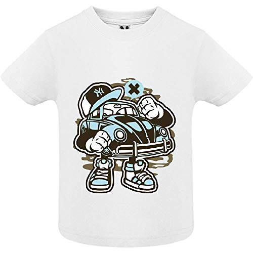 LookMyKase T-Shirt - Street Beetle - Bébé Garçon - Blanc - 2ans