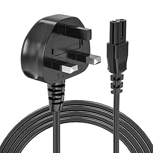 Ancable C7 - Cable de alimentación para PS4, PS5, 5 m, 2 clavijas, cable de alimentación para Samsung LG, Sony, Playstation, Toshiba Philips, Sharp, Panasonic LED, TV plana, Sky Plus+ HD Box
