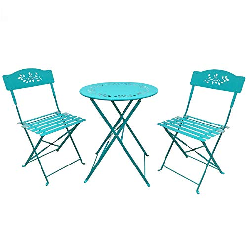 SUNDO Bistro Set aus Metall, Balkonmöbel Set 3 Teilig, Gartenset klappbar, Balkon Set aus 1 x runder Tisch und 2 x Stühlen, Bistrogarnitur für Balkon Garten Terrasse (Blau)