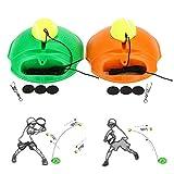 itYukiko Tennis Ball Back Base Trainer Set with Long Rubber Elastic Rope Band Tennis