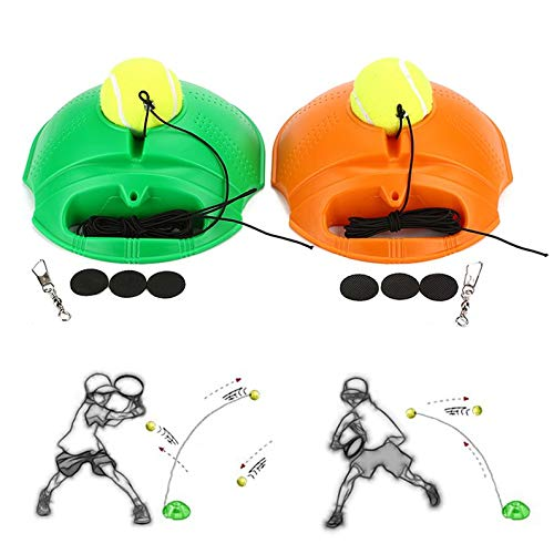 itYukiko Tennis Ball Back Base Trainer Set with Long Rubber Elastic Rope Band Tennis