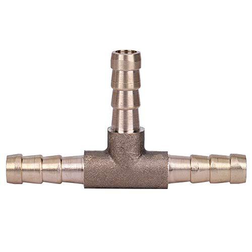 Pièce en T de tuyau de carburant en laiton, pièce en T en laiton Connecteur de tuyau de carburant à 3 voies pour ligne air-huile-gaz comprimé (6mm) accessoire de remplacement