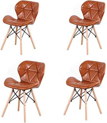 NC56 4er Set PU Gepolsterte Esszimmerstühle Lederstühle im modernen Stil für Wohnzimmer, Esszimmer und Küche (Braun)