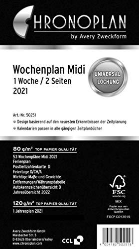 Chronoplan 50251 Kalendereinlage 2021, Wochenplan Midi in Zeilen (96x172mm), Ersatzkalendarium, ideal für detaillierte Wochenplanung, Universallochung (1 Woche auf 2 Seiten), weiß