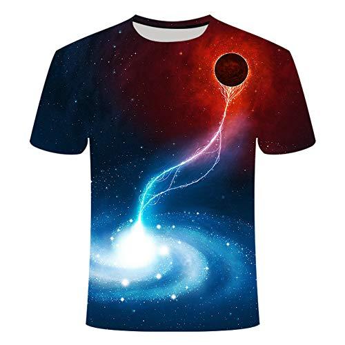 Treer 3D Camiseta para Hombre, Cielo Estrellado Impresión Verano Manga Corta Casual Hipster Unisex Fit tee Shirts Camisetas Hombre Personalizada Divertidas Blusa Tops S-5XL (Trueno,M)